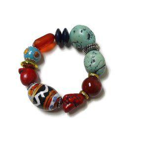 chunky bead elastic statement bracelet